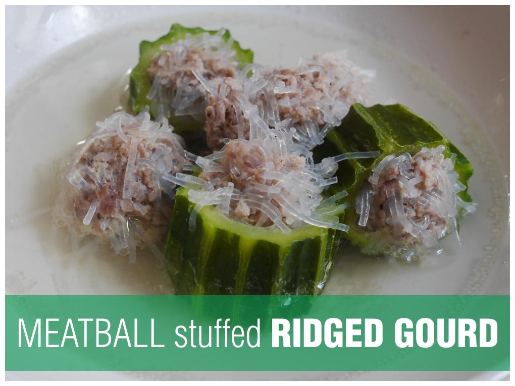 Meatball Stuffed Ridged Gourd