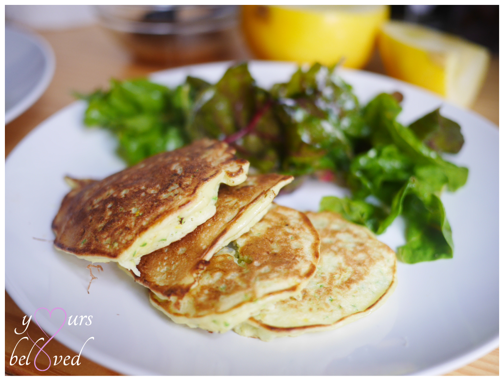 Summer Squash Pancakes with Swiss Chard Salad