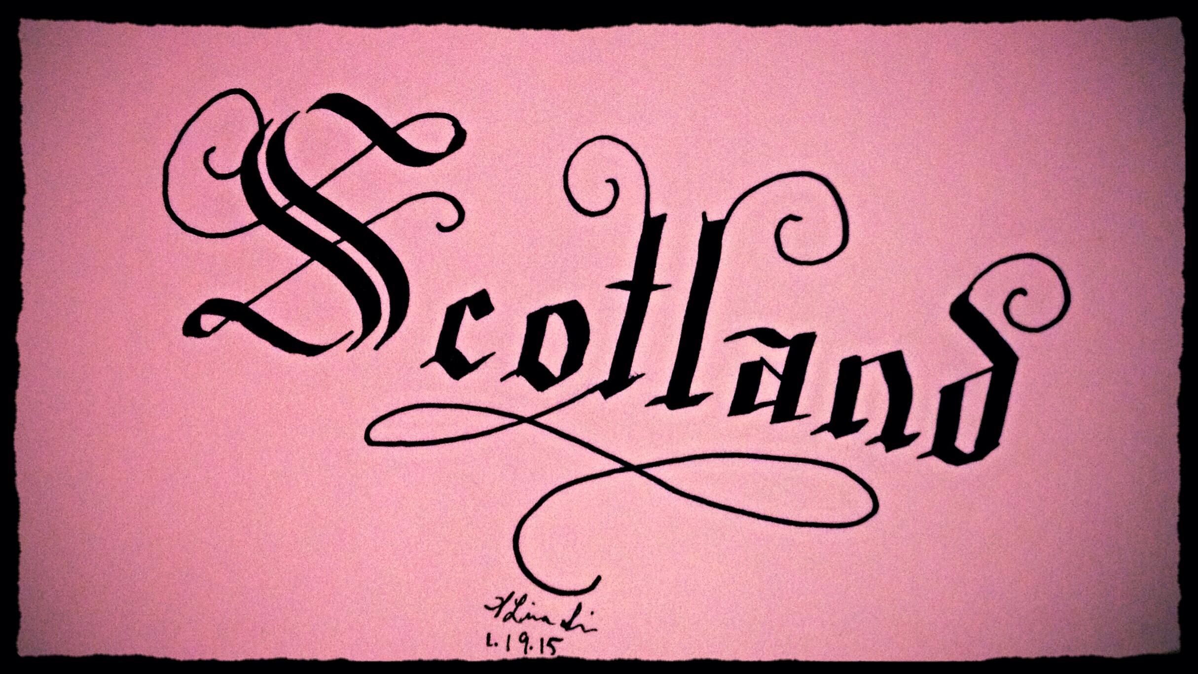 Scotland calligraphy writing