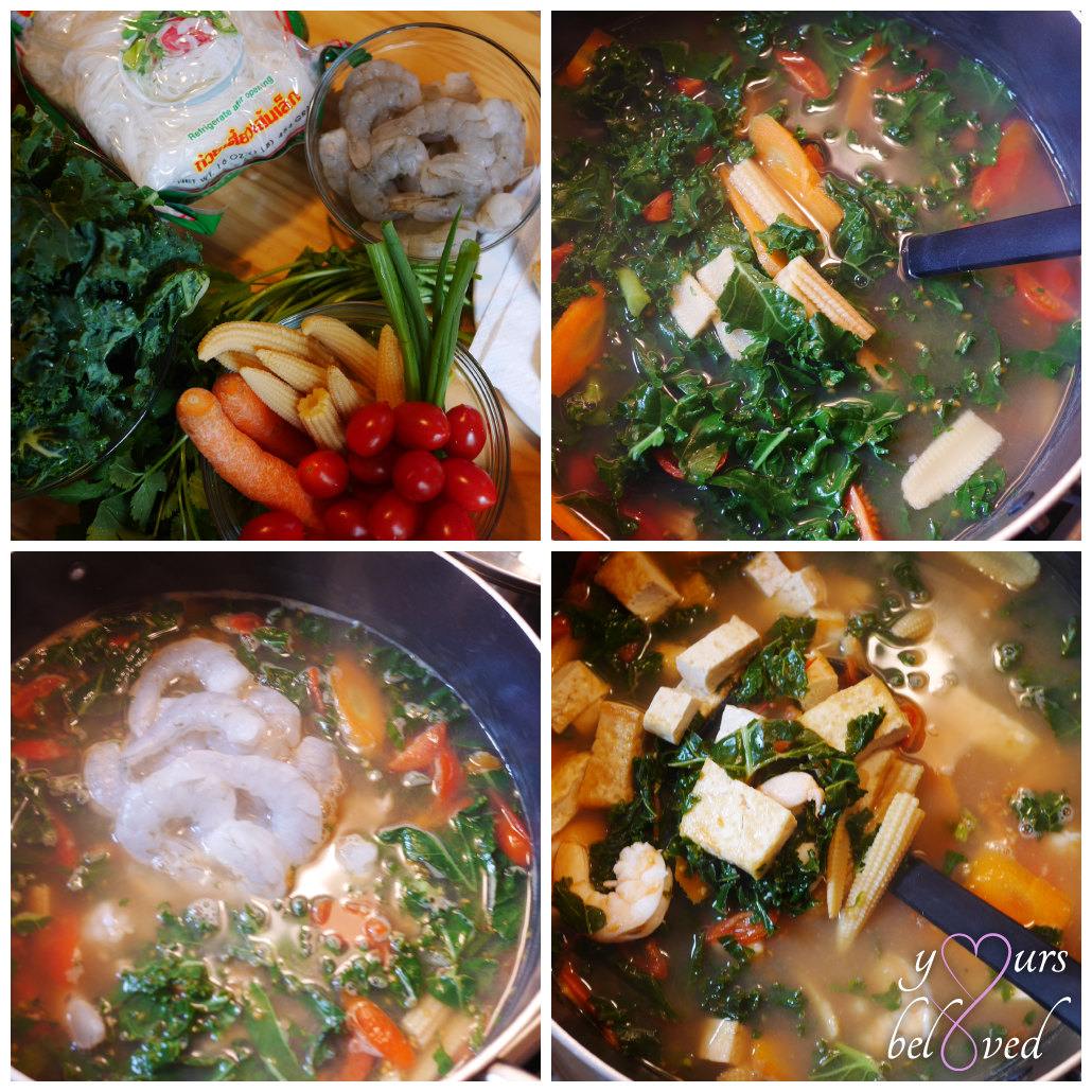 Tom Yum Soup with Kale, Carrots, Tomatoes, Baby Corn, Shrimp, and Tofu