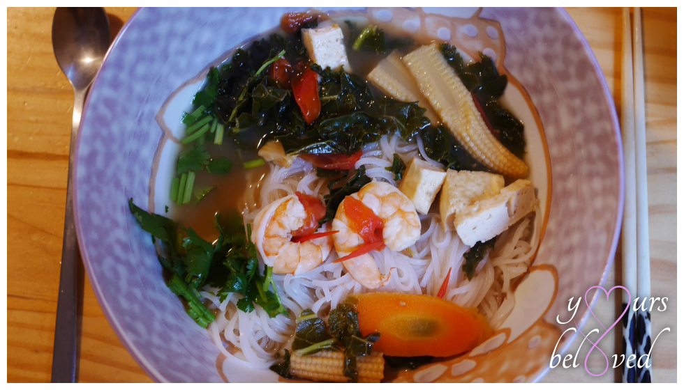 Tom Yum Noodle Soup with Kale